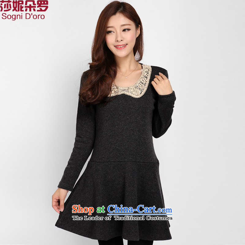 Luo Shani flower codes for winter dresses Korean Version to increase the burden on the sister 200 lint-free thick women 3101 skirt black2XL