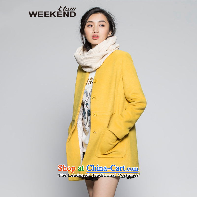 The聽WEEKEND聽winter solid color round-neck collar pockets coats Yi 14022118921聽160_36_S yellow