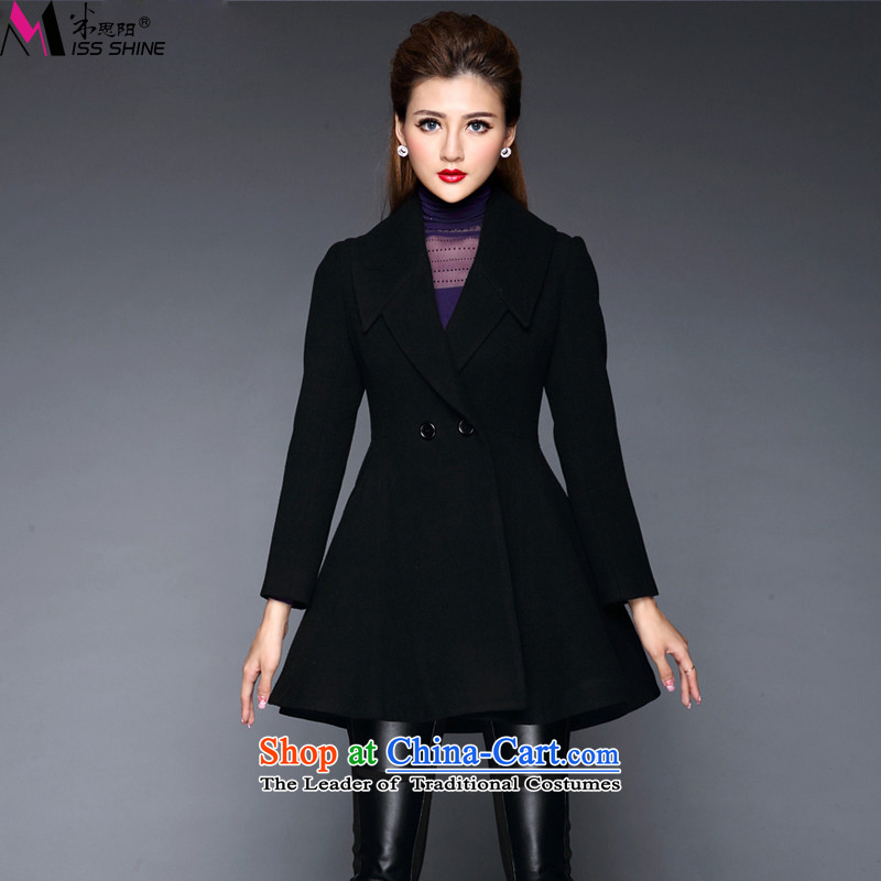 Meath Yang Shoushan 2015 autumn and winter new Women's jacket western pure colors? graphics thin Foutune of wool coat black S?