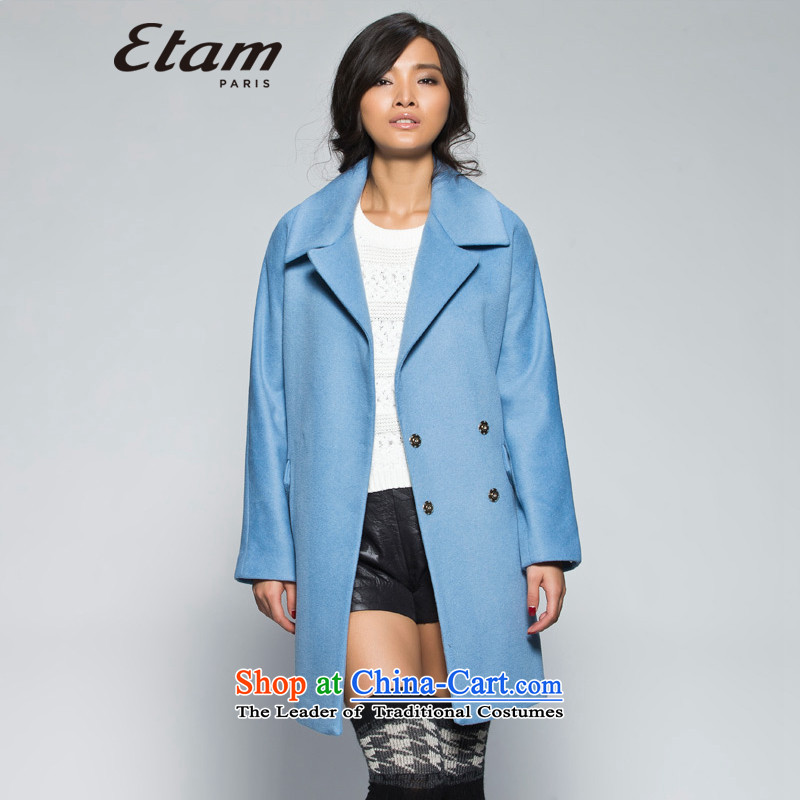 The爐ype of ETAM winter foutune tether pure color coats 14013409163�5_42_XL gray-blue