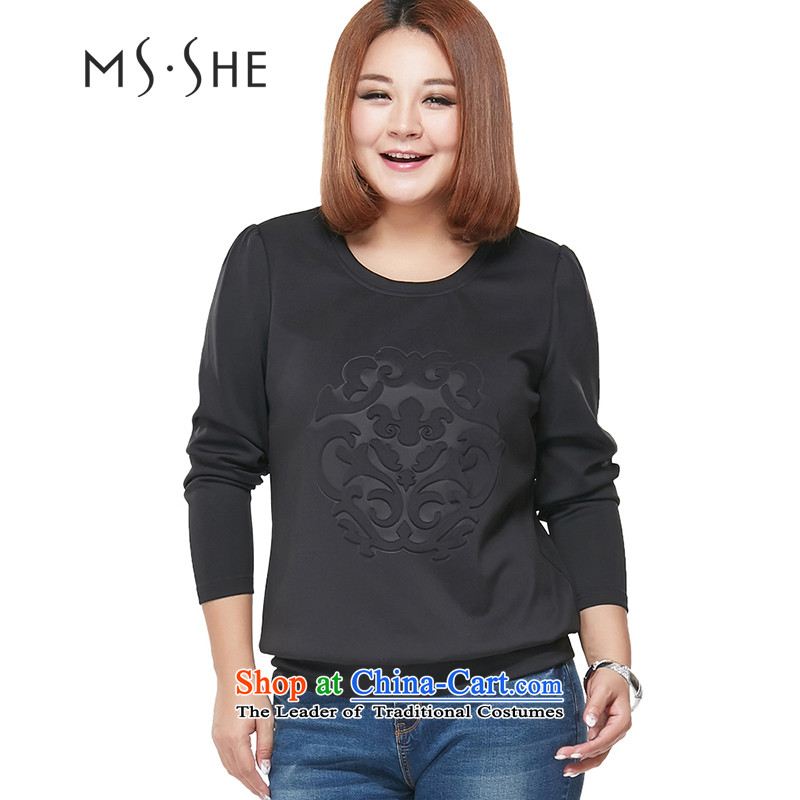 Large msshe women 2015 Autumn new mm thick solid color round-neck collar Sau San video thin leisure sweater pre-sale 2192 Black 4XL- pre-sale to arrive at 12.10