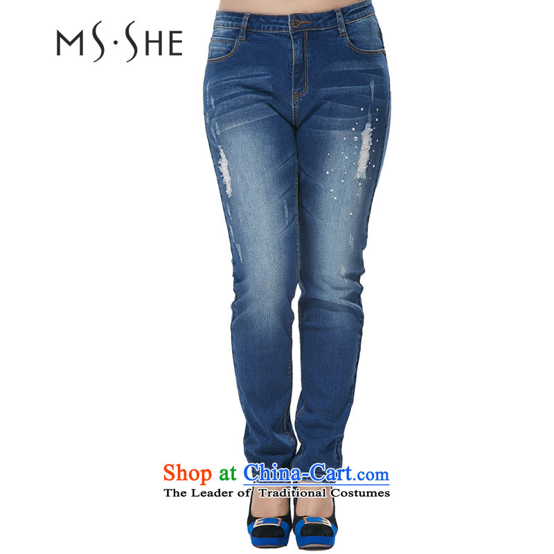 Msshe xl women 2015 autumn the new Korean version in the drill Top Loin ironing leisure video thin jeans 7882 Denim blueT4