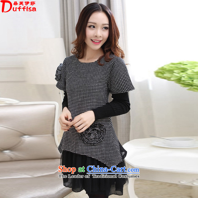 Flower to Isabelle2015 Korean new dot bow tie plus two leave extra thick wool gauze stitching larger dresses female D7402 picture colorM