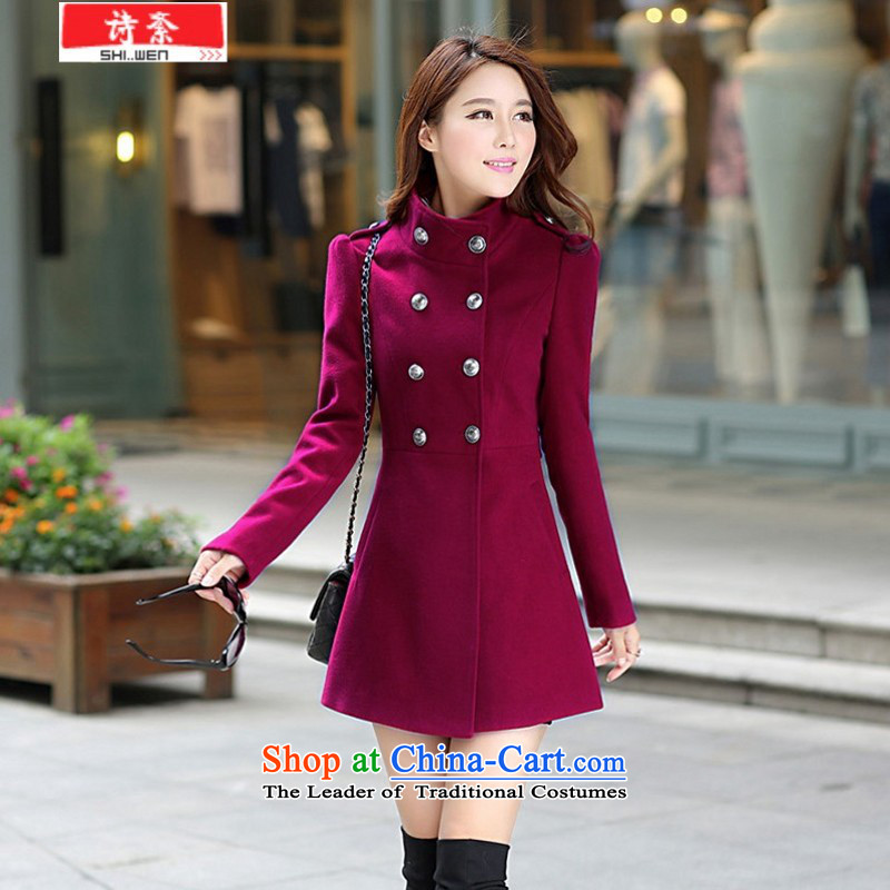 Poetry political new 2015 Women's gross? Boxed female jacket Korea Fall edition video thin large code     in the long hair? coats female wine red XXL