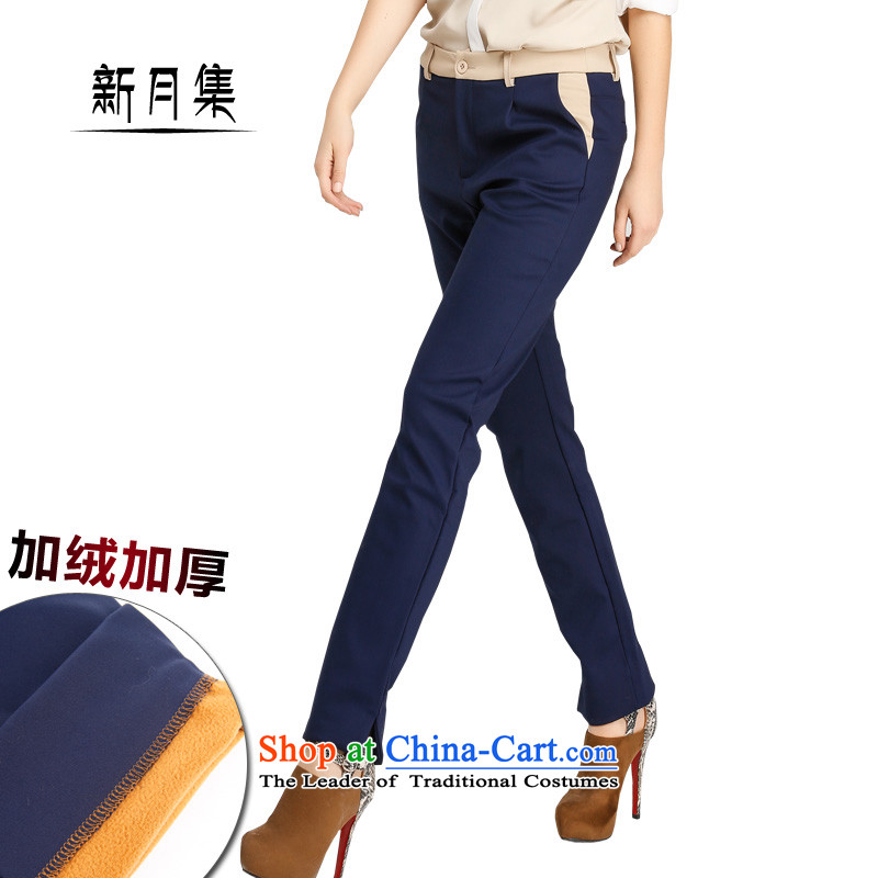 Set maximum number of the crescent woolen pants female plus lint-free high-large waist thick Women warm winter_ Straight Legged Power's stylish fitness video your abdomen hip Body Dark Blue聽40