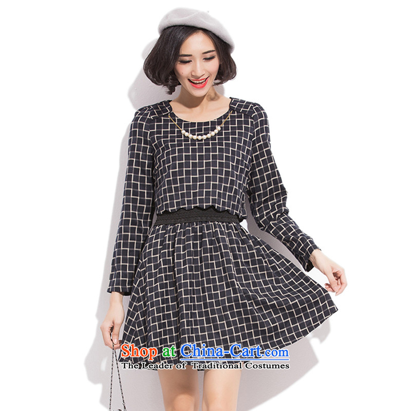 To increase the number of women with thick winter 2015 Autumn mm 200 mm thick won the catty version thick sister video thin dresses Korean version large thin black XXXL dresses