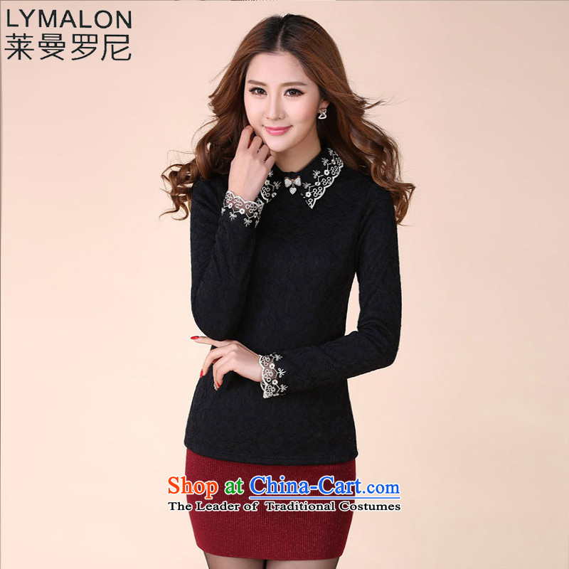 The lymalon Lehmann 2015 winter clothing new Korean version of large numbers of women who are the lint-free thick lapel lace forming the Netherlands 1066 Black聽5XL
