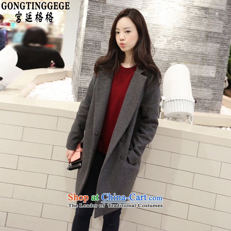 Princess Returning Pearl�15 Autumn and Winter Palace New Women's Korea version with a straight loose in a simple long thick hair a windbreaker overcoat Suit燤 Gray