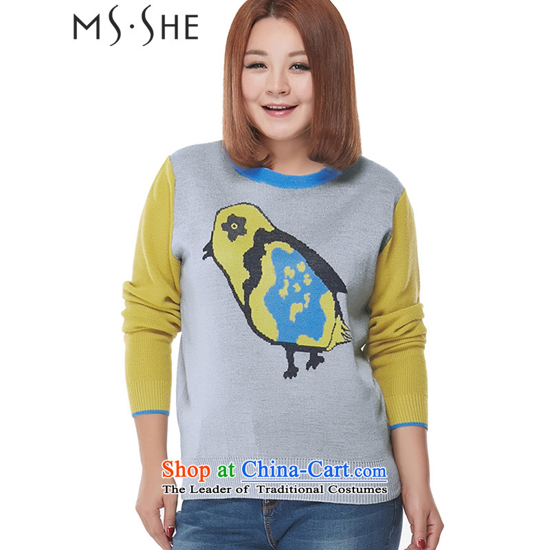 Msshe xl women 2015 new winter clothing large Korean Ladies casual wild lovely pattern sweater pullovers 2313?3XL Gray