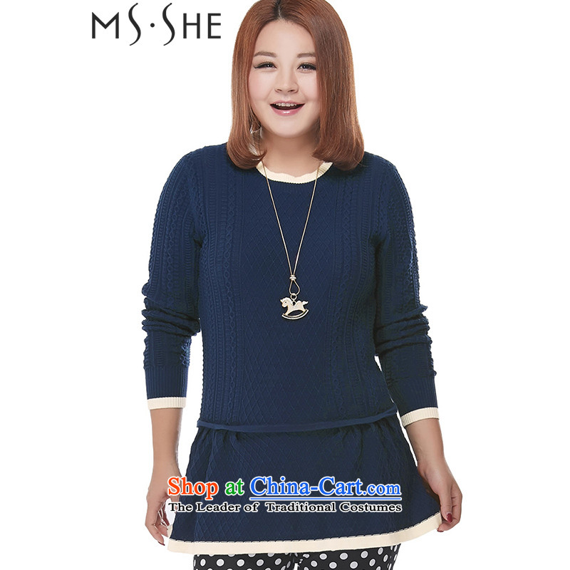 To increase the number MSSHE Women 2015 new autumn replacing thick MM round-neck collar long-sleeved sweater pullovers 2322 Royal Blue 5XL