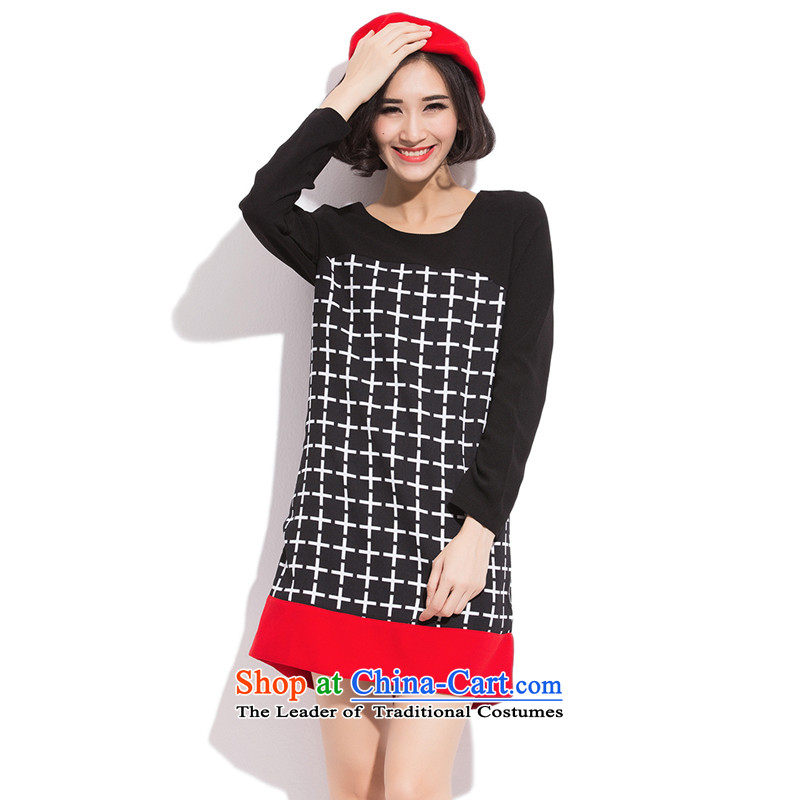 Maximum number of ladies mm thick winter 2015 to intensify the autumn and winter thick sister Han version thin long-sleeved dresses thick mm to intensify the Sau San video thin solid black skirtXXXXXL