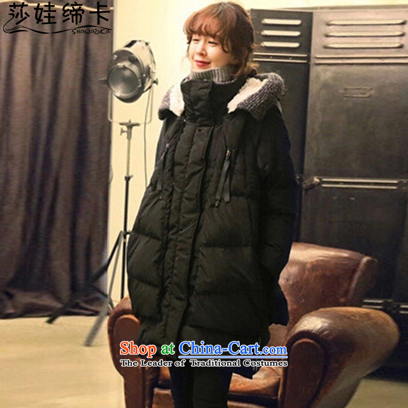 Elisabeth wa concluded card down to women increased 200 catties larger female autumn extra thick people jacket female graphics thin, Korean thick sister Feather _ in long black燲XL suitable for 160 to 175 catties of Fat Fat