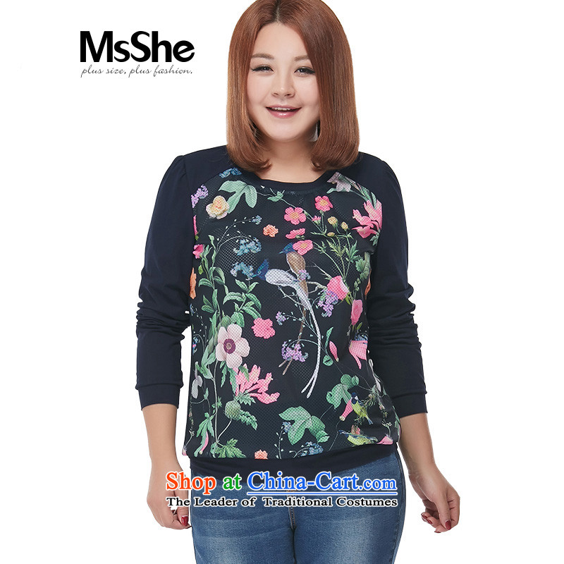 Msshe xl women 2015 new autumn replacing T-shirt with round collar video thin stretch knitting sweater 2465 rice bags blue?3XL stamp