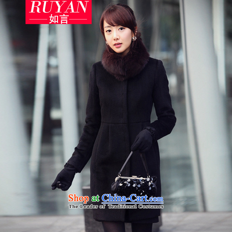 Cashmere overcoat female autumn and winter 2015 Korean autumn and winter new women's gross for Sau San gross fox? female in the medium to long term, of the jacket gross coats blackL?