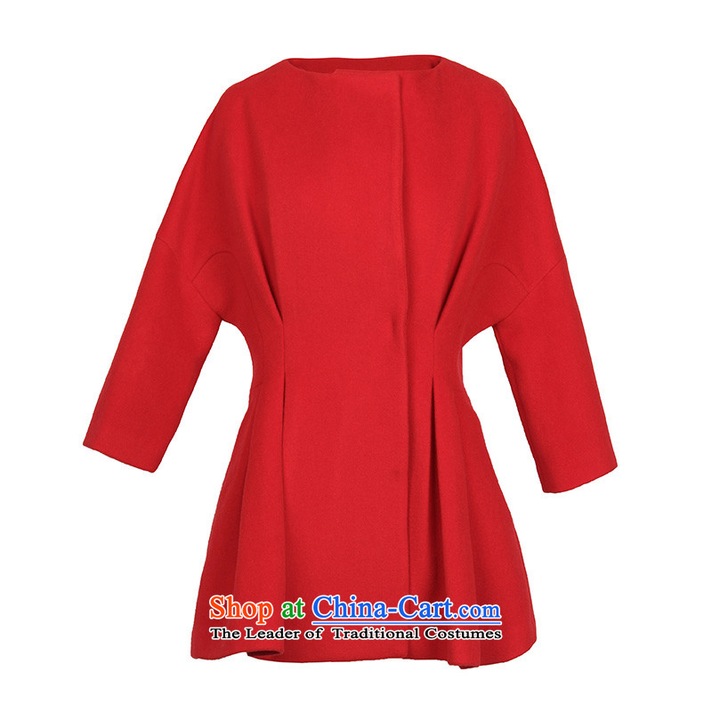 2015 winter clothing new minimalist Top Loin Foutune of solid color in the Cuff D441018D20 jacket? female grossS_155_80a Red