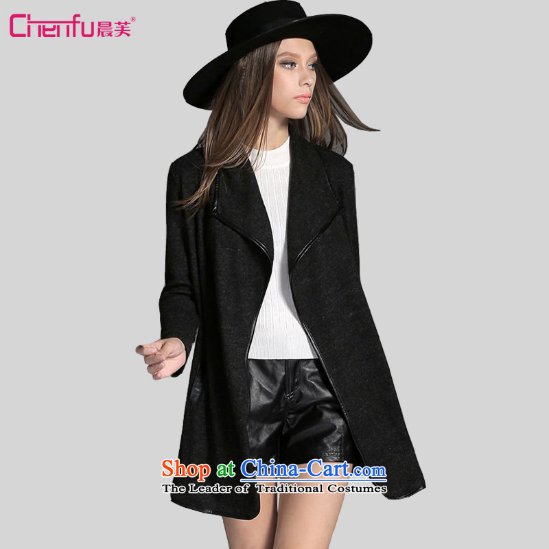 Morning to 2015 autumn and winter to increase women's code of the new Europe and in long wool cardigan video thin long-sleeved Knitted Shirt stylish black jacket�L_ lapel recommendations 165-180 catties_