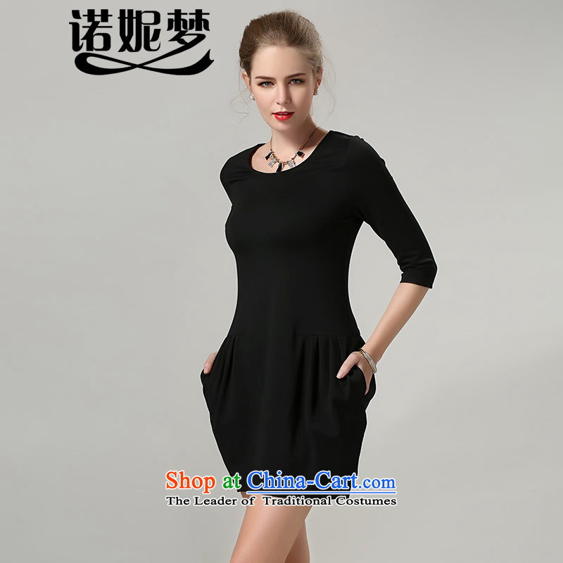 The Ni dream new_ Autumn 2015 Europe to increase women's code thick mm thin in the Video Cuff   forming the dresses s3002 blackL