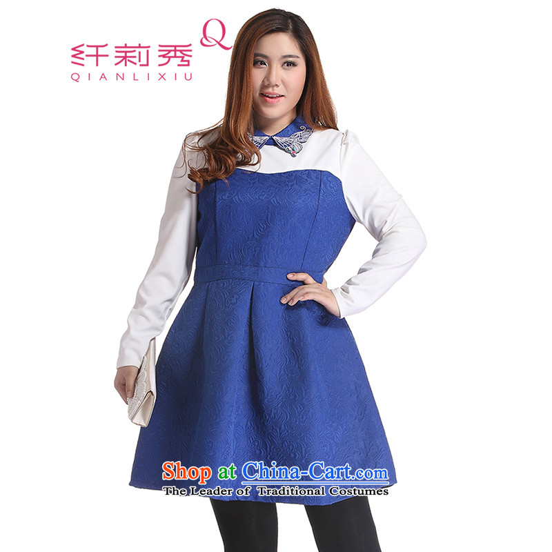 The former Yugoslavia Li Sau 2014 autumn and winter new large stylish girl false two bubble cuff Peter Pan collar butterfly graphics thin A swing dresses Q6303 BLUE XL