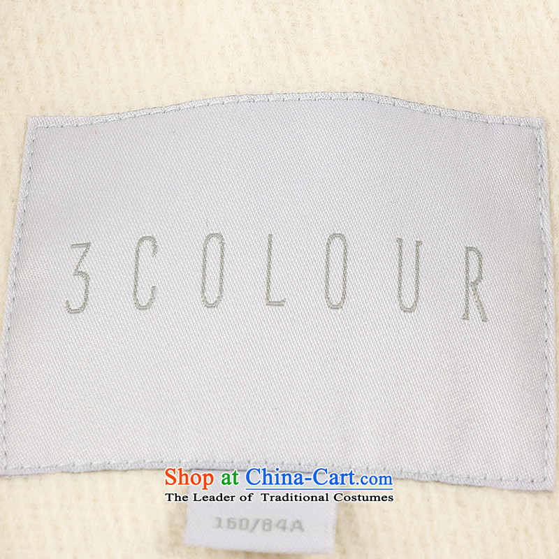 3 Color 2014 new winter clothing knocked color stitching in long coat D443059D10 female white yellow color three M/160/84a, shopping on the Internet has been pressed.