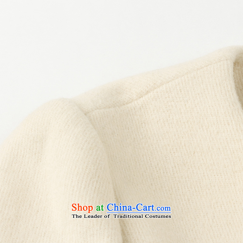3 Color 2014 new winter clothing knocked color stitching in long coat D443059D10 female white yellowcolor three M/160/84a, shopping on the Internet has been pressed.