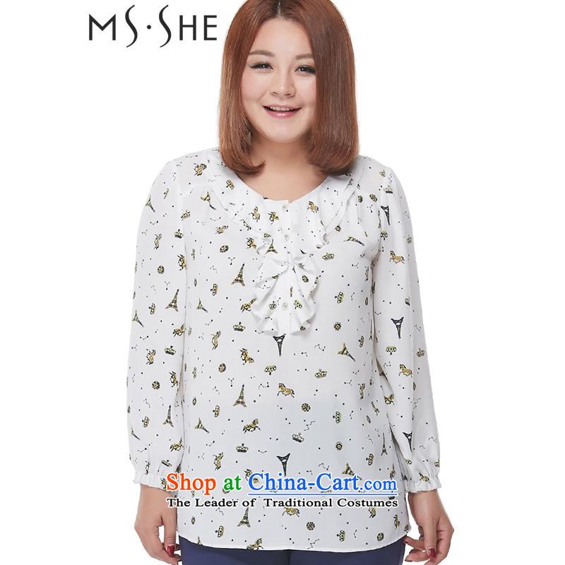 New Load autumn msshe2015 larger female stamp billowy flounces chiffon Netherlands shirt long-sleeved shirt 2506 STAMP6XL on white