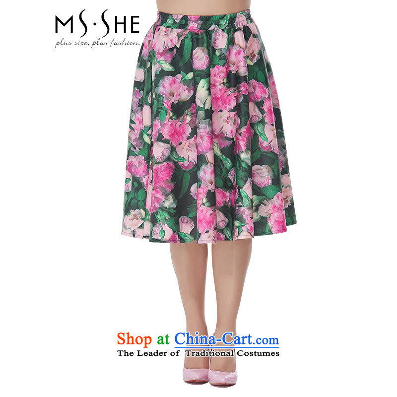Msshe xl female new summer 2015 MM thick retro stamp A swing loose body skirt聽suits 2,519聽T4