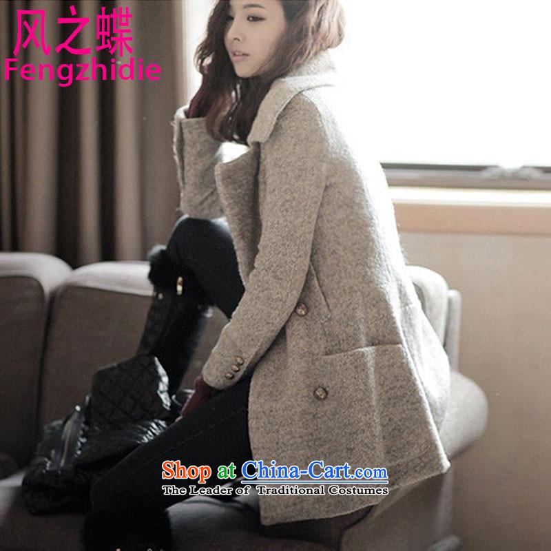 Wind Butterflies聽2015 Winter Korean girls a lapel Sau San video thin windbreaker jacket coat? female gross gray聽M