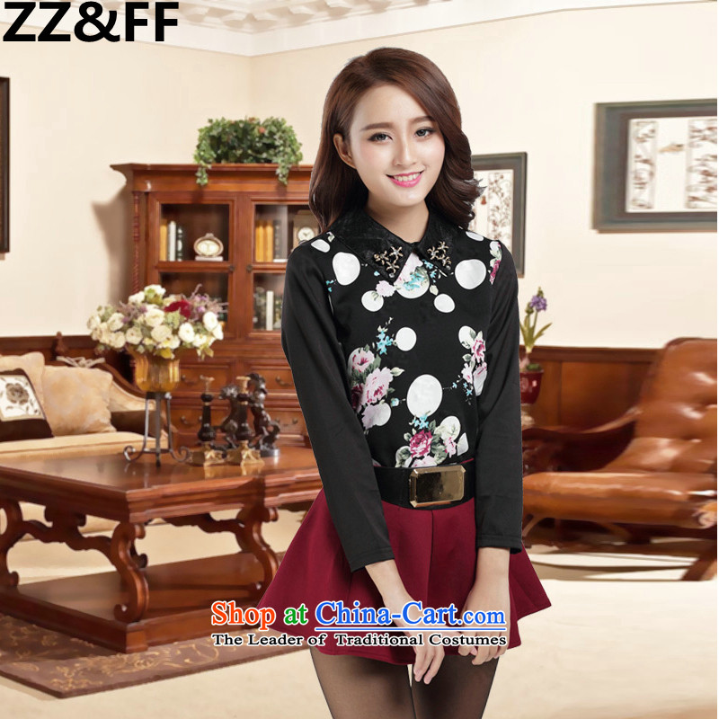 To increase the number Zz&ff female thick mm2015 autumn replacing winter clothing, forming the long-sleeved shirt Korean plus lint-free T-shirt shirt suit L