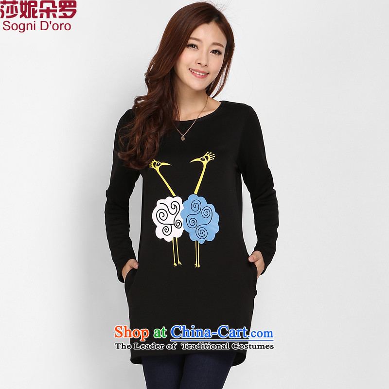 Shani flower lo xl female mm2015 thick winter clothing video thin round-neck collar plus extra thick warm forming the lint-free Netherlands kit and sweater T-shirt female 3116 Black 4XL