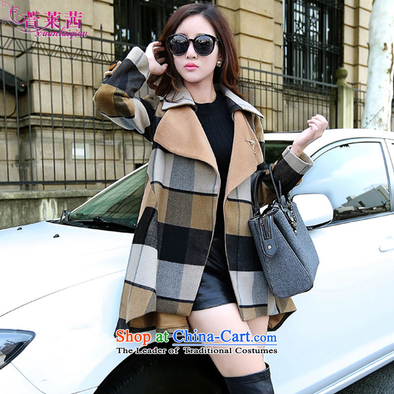 Xuan, Mrs Ure聽2015 autumn and winter loose dovetail latticed wool coat in the medium to long term, what cloak video thin female picture color聽L
