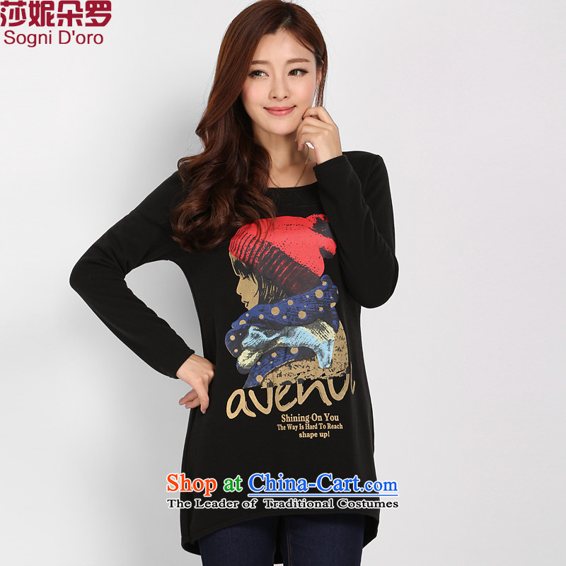 Shani flower, dumpling xl female thick winter clothing plus lint-free sister thick Sau San video thin round-neck collar kit and T-shirts, forming the Netherlands warm black 5XL 3,117 female