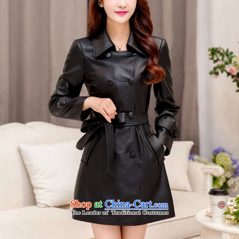 2015 winter clothing new larger female leather garments female thick MM thin in the Korean version of cotton coat 200 catties thick mm plus lint-free thick pu聽XXXXXL black jacket