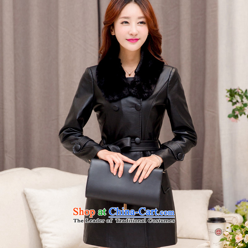 2015 winter clothing new larger female leather garments female thick MM thin in the Korean version of cotton coat 200 catties thick mm plus lint-free thick pu jacket black聽XXXXXL, Biao (BIAOSHANG yet) , , , shopping on the Internet