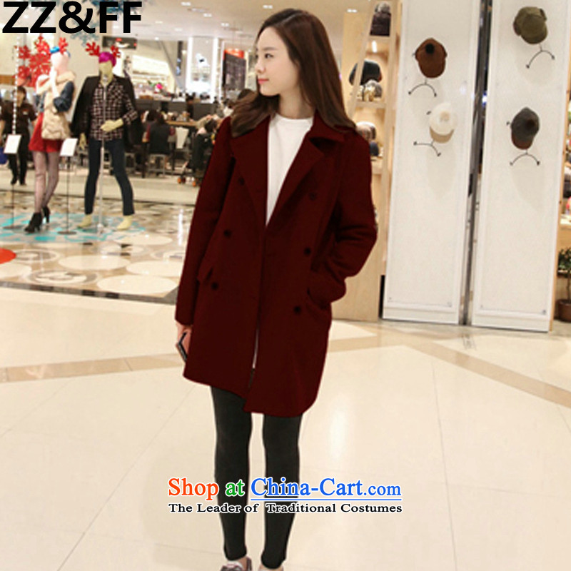 Install the latest Autumn 2015 Zz&ff Korean Version) To intensify the code-thick female thick MM200 catty gross? female wine red XXXL Jacket