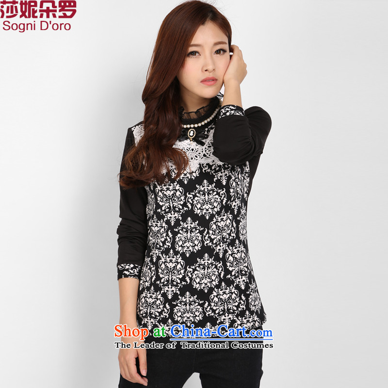 Shani Flower Lo 200 catties thick sister larger women who head kit decorated Winter Sweater warm up forming the neck shirt female video thin black�L compared with 2,797