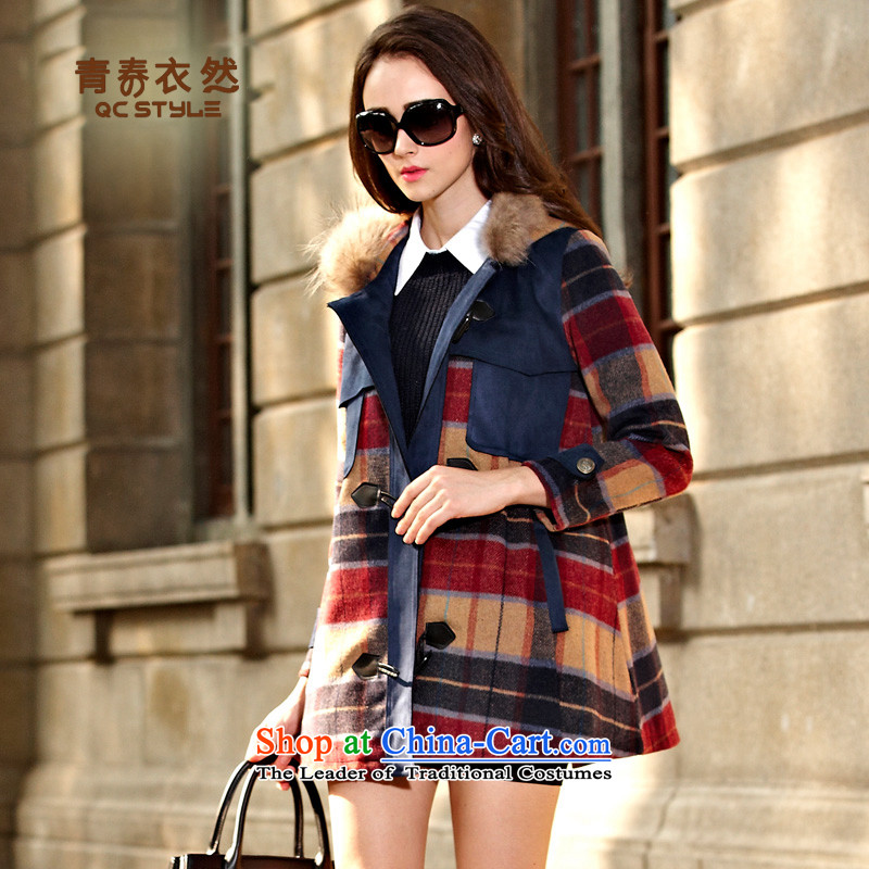 Youth Yi So�15 Fall_Winter Collections Plus lint-free thick coat female latticed jacket?   in Europe and the long hair? is a red cloak燲L