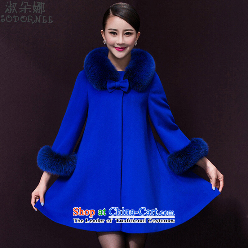 Mrs flower of gross? autumn and winter coats women 2015 replacing the new medium to long term, temperament Sau San Mao jacket build 9157 Royal Blue? (luxuriant elegance) XL