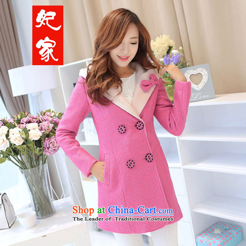 Princess Furniture for winter new Korean Joint Cap gross butted? long double-a wool coat jacket female BURGANDY聽M