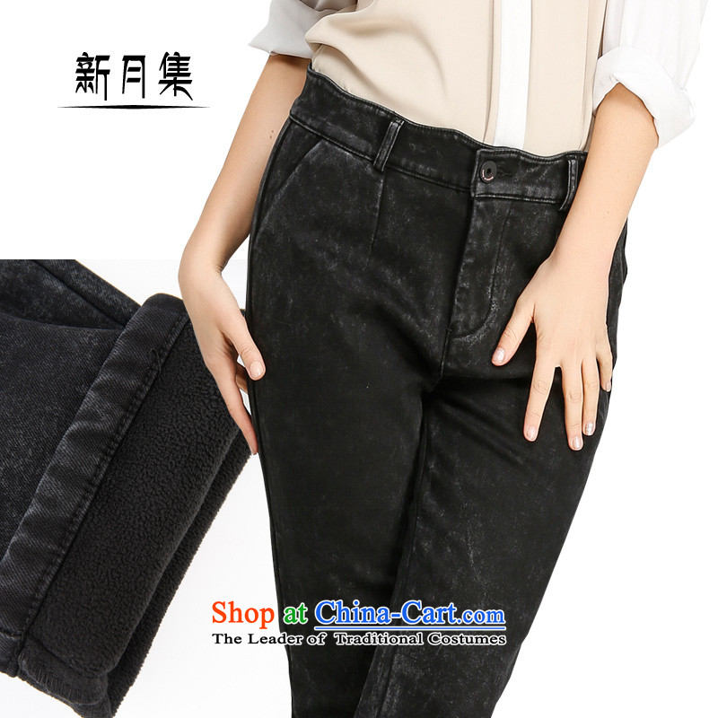 Crescent set larger fat mm black snow jeans female new products plus high Waist Trousers, extra thick wool Sau San Castor trousers Sau San video thin wild black snow聽34