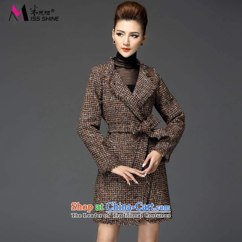 Meath Yang Mei 2015 winter clothing covered by the new small-wind gross Foutune of coats in this long wool wind jacket female brown S