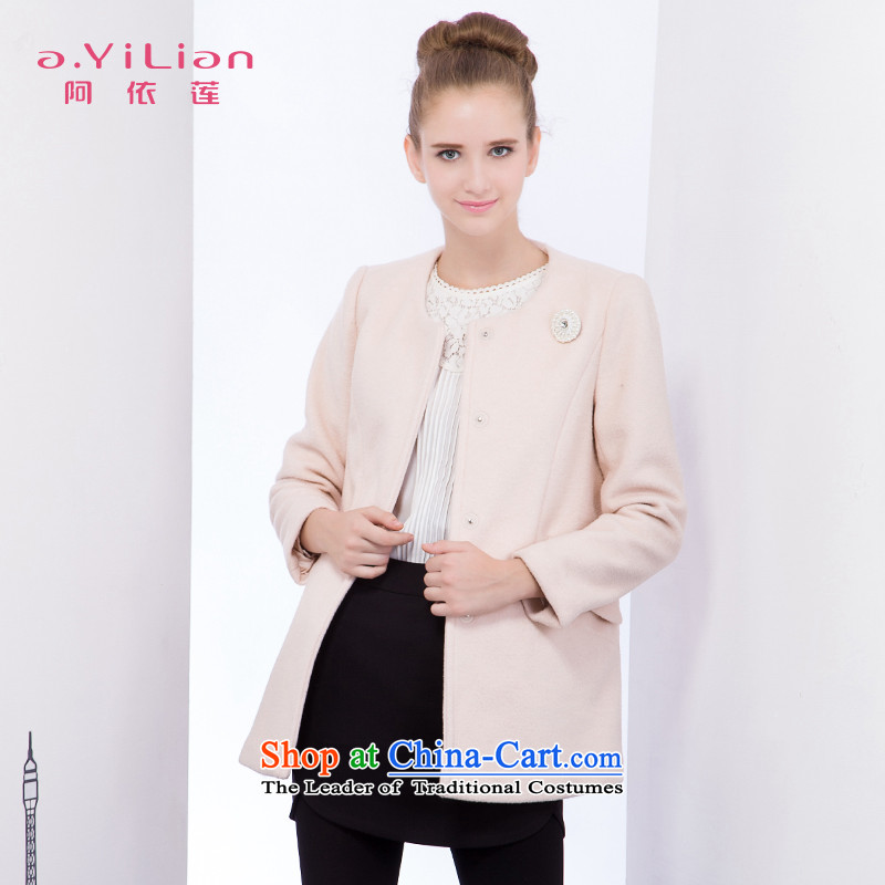 Aida 2015 Winter New Lin pure colors and stylish elegance in a typeface long wool coat jacket CA44197432? light all燬