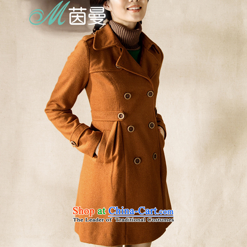 Athena Chu Cayman�14 winter clothing new net new color, double-video in the thin long_? jacket orange燲L