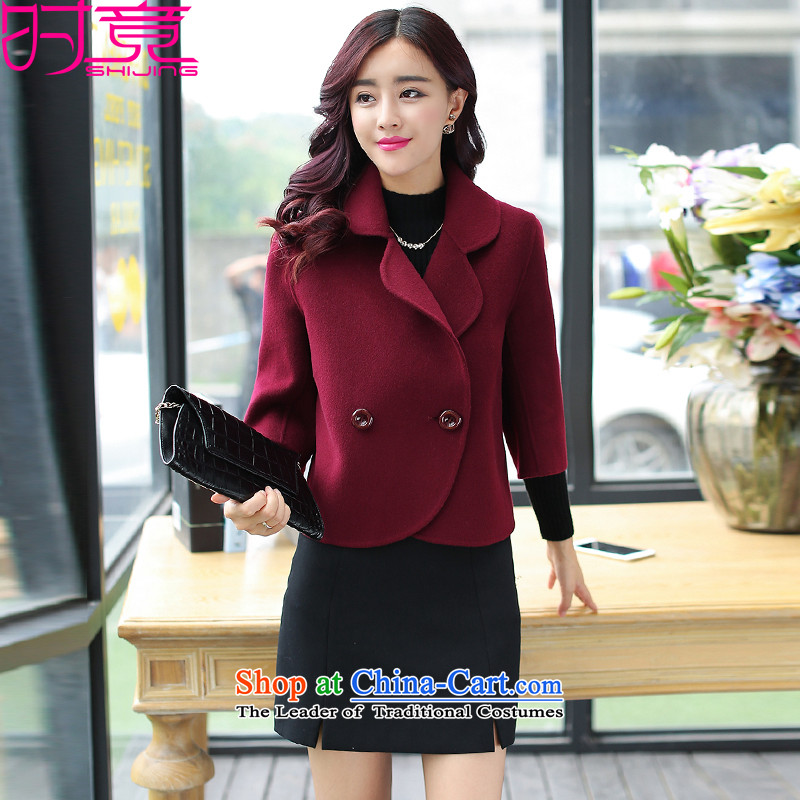 Even the new 2015 winter clothing Korean small Heung-double-coats female W8987 gross? red L