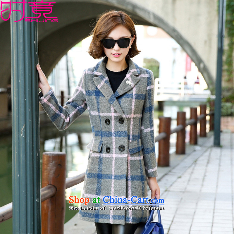 聽2015 Autumn and winter, the new version of the Korean female children long Sau San Mao a wool coat聽W8930聽聽M_165_ gray cells