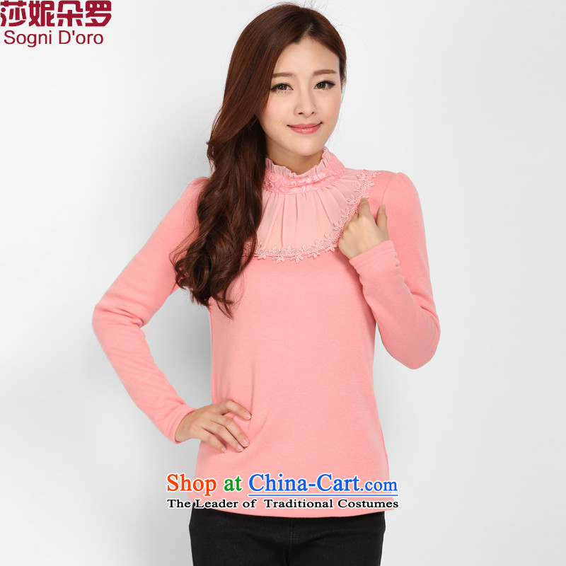 Shani flower, large overweight women thick mm to intensify the Korean version of the Autumn and Winter Sweater add lint-free T-shirt, forming the thick clothes female pink�L 3202