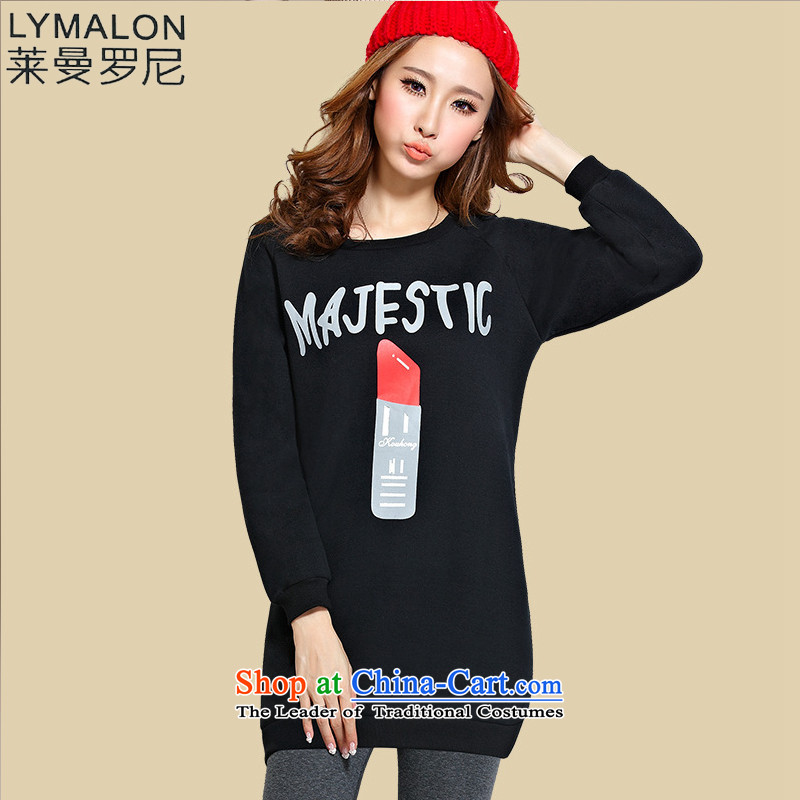 The lymalon2015 lehmann autumn and winter load new Korean version of large numbers of ladies dress in long), forming the thick shirt lint-free 5XL 1171 Black
