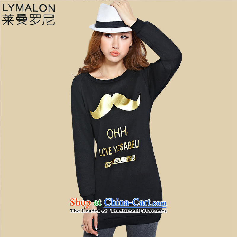 The lymalon Lehmann 2015 Fall_Winter Collections new Korean version of large numbers of ladies wear shirts thickened the lint-free long sweater 1173 beardXXL