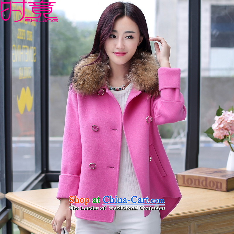 Even for聽winter 2015 new female Korean short, reverse collar Sau San-coats female W8988 gross? The Red no gross for聽L
