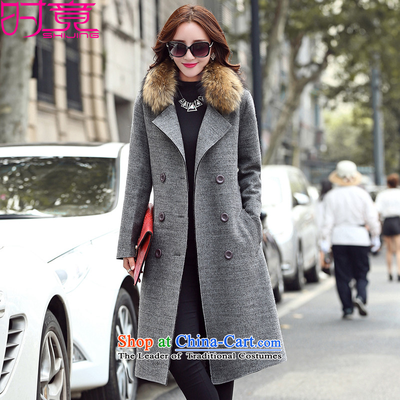 Even the new 2015 winter clothing Korean wool, Sau San reverse collar double-coats female W1788 gross? Gray L lint collar