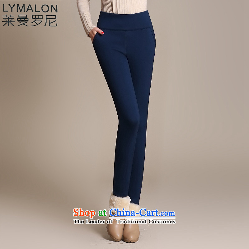 The lymalon2015 Lehmann Fall_Winter Collections for larger women plus lint-free cotton stretch pencil trousers thick video thin warm castor pants 2034 Royal BlueXXXL